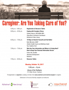 Caregiver: Are You Taking Care of You? @ Library of The Chathams | Chatham Township | New Jersey | United States