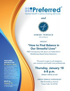 How to find Balance in our Stressful Lives - Presentation @ Arbor Terrace Shrewsbury | Tinton Falls | New Jersey | United States