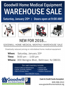 Goodwill Home Medical Equipment Warehouse Sale @ Goodwill Home Medical Equipment | Bellmawr | New Jersey | United States