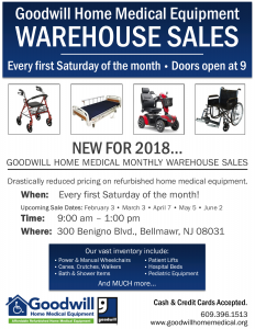 Goodwill Home Medical Equipment Warehouse Sale – NJ Health Care Network