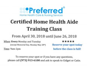 Certified Home Health Aide Training Class @ Preferred Home Health Care & Nursing Services, Inc. | South Orange | New Jersey | United States