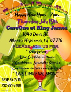 TROPICAL PARADISE HAPPY HOUR @ CareOne at King James | Atlantic Highlands | New Jersey | United States