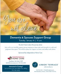 You Are Not Alone -Dementia & Spouses Support Group @ Arbor Terrace Shrewsbury