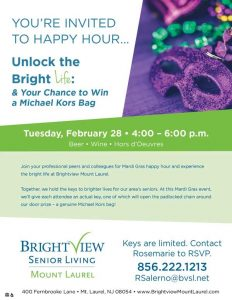 Unlock the Bright Life:  Mardi Gras Happy Hour and Designer Handbag Giveaway @ Bright View Senior Living  | Mount Laurel | New Jersey | United States