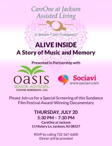 Special Screening of Documentary: ALIVE INSIDE @ CareOne at Jackson | Jackson | New Jersey | United States