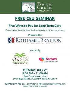 2 FREE CEU SEMINAR: Five Ways to Pay for Long Term Care @ Bear Creek Senior Living | West Windsor Township | New Jersey | United States