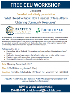 """FREE CEU Workshop""""What I Need to Know: How Financial Criteria Affects Obtaining Community Resources"""" @ Brookdale Echelon Lake 