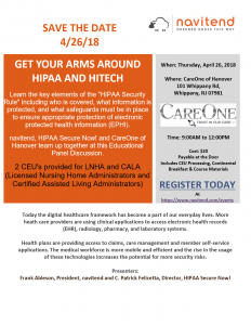 Get Your Arms Around HIPAA and HITECH - A Panel Discussion @ CareOne at Hanover | Hanover | New Jersey | United States