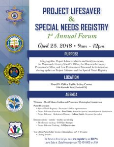 Project Lifesaver & Special Needs Registry 1st Annual Forum @ Sheriff's Office Public Safety Center | Freehold | New Jersey | United States