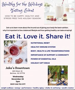 Healthy 4 the Holidays Tasting Event @ Jake's Downtown  | Belmar | New Jersey | United States