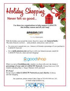 Holiday Shopping - LADACIN Network @ Amazon Smile and Good Shop