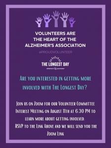 Alzheimer's Association: The Longest Day Volunteer Committee Interest Meeting @ Virtual | Tulsa | Oklahoma | United States